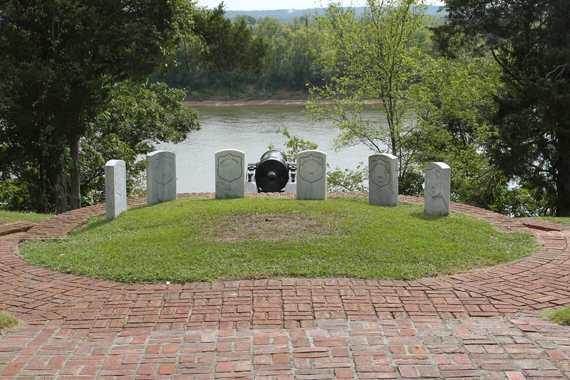The cemetery extends to a bluff overlooking the Tennessee River