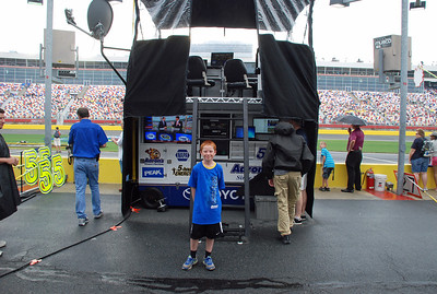 At Mark Martin's pit stall. Martin, who just turned 104*, is Bryson's favorite driver.  *He's actually 54 (not to mention about 5 foot 4).