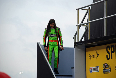 Danica Patrick, during driver introductions. Not her best night (though, predictably, she was voted into the main event by the fans).