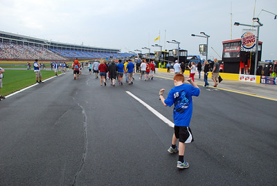 Just following the crowd to the start/finish line. Don't think we had the proper pit passes, but nobody stopped us.