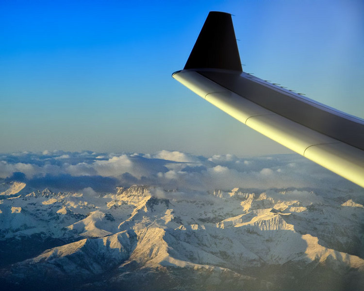 Flying to Italy over the Alpes, December 19, 2010.