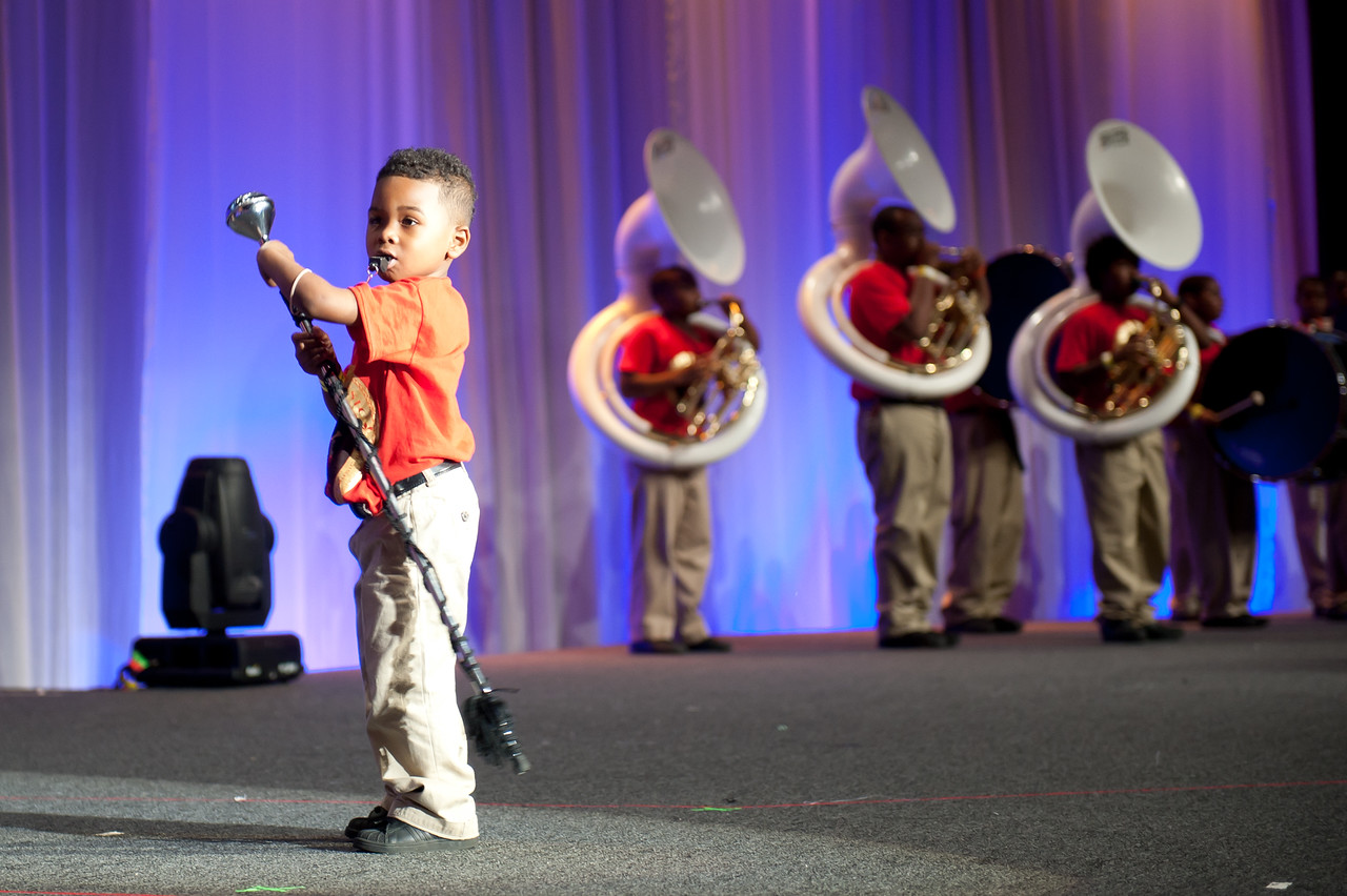 A young performer takes the stage at the opening plenary of the 2011 National Conference on Volunteering and Service.