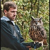 Dustin and 3 yr old Eurasian Eagle Owl born and raised at Sylvan Heights