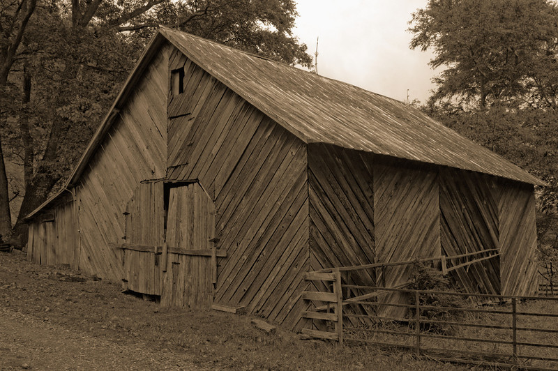 Stephen's Barn, Hwy. 194.  Note ladder on the side used for picking cherries