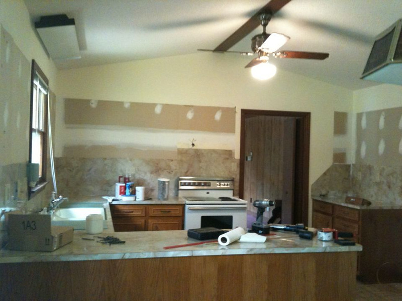 Upper cabinets gone!