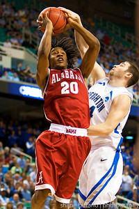 Levi Randolph (20) of Alabama is blocked by Ethan Wragge of Creighton, during the Second Round of the NCAA National Tournament at Greensboro Coliseum in Greensboro, NC on Friday, March 16, 2012.