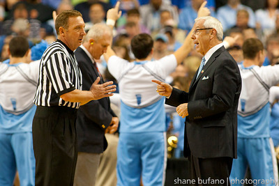 North Carolina head coach Roy Williams argues with the referee over a controversial call during the Second Round of the NCAA National Tournament at Greensboro Coliseum in Greensboro, NC on Friday, March 16, 2012.