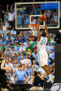 Justin Watts of North Carolina flies high for a dunk during the Second Round of the NCAA National Tournament at Greensboro Coliseum in Greensboro, NC on Friday, March 16, 2012.