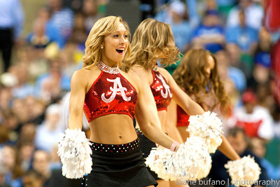 The Alabama University cheerleaders entertain the crowd during the Second Round of the NCAA National Tournament at Greensboro Coliseum in Greensboro, NC on Friday, March 16, 2012.