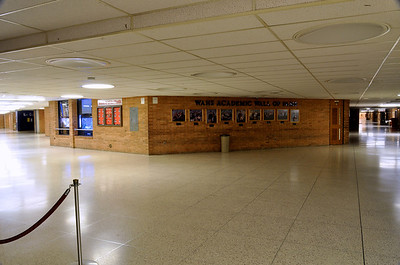 First floor Hub of the Williamsport Area High School (Williamsport, PA) showing two of the display aquariums.