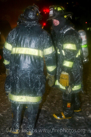 Ice on everyone and everything, 2121 W. Washington, 311 alarm 2/11/03<br /> 10°, 20 mph sustained wind for 6 hours.