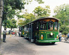 $2 for all day use of trolleys. Get on and off at any of 6 stops throughout the park. Beautiful with light oak seats and trim throughout. Heated and airconditioned. Each powered trolley tows an unpowered trolley. We chose the open air towed trolleys when we could.