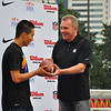 November 17 - Joe Montana presents the MVP award during the University Bowl V award ceremony (NFL China)