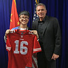 November 14 - Joe Montana at poses with a fan at event hosted by the US Consulate in Shanghai (NFL China)