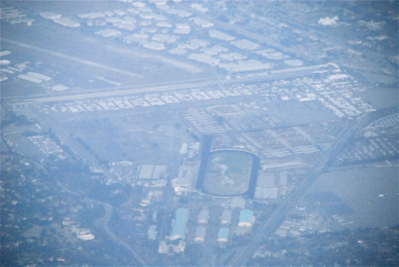 An Aerial view of the Fairplex while flying in