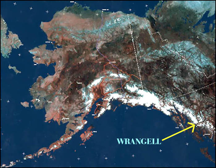"""WRANGELLITES, YOU ARE HERE!"", Alaska, USA by a satellite.-----""ZDE SE NALEZAJI WRANGELLANI"", Aljaska, USA videna druzici."