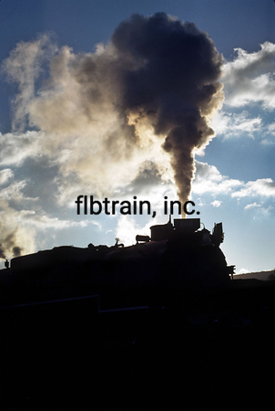 Silhouette of Ross Rowland's C&O 4-8-4 taken n Clifton Forge, VA.  Circa 1980.  Photo & caption by Tom Blackwell.