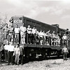 On October 28, 2000 a number of Chapter members rode The Crescent from New Orleans to Meridian, MS where Mick Nussbaum took them on a tour of the rail facilities in town.  Here the group is posed on Meridian Southern geep 1850.  Photograph & caption by Tom Blackwell.