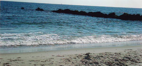 Ocean and jetties view at Atlantic Beach, Long Island, in New York.