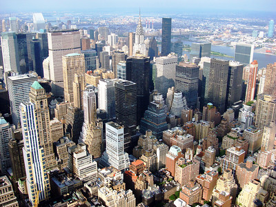 Aerial view of New York buildings from the Empire State building.
