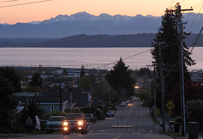 Sunset in Edmonds (Dayton Street) with the Olympics in the background.