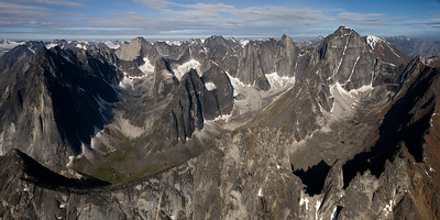 Aerial view of the Cirque of Unclimbables, a circle granite walls, is a rock climbing mecca which draws climbers from all over the world.