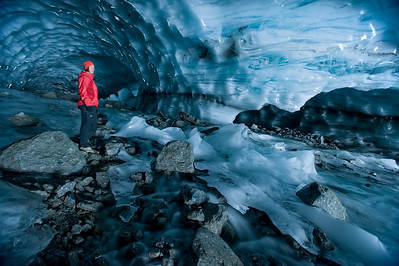 Terri Cairns explores the blue world of a glacial cave underneath the Brinell Glacier.