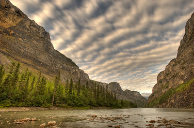Second Canyon on the South Nahanni River with layered clouds.