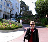 Audra on her walk down Lombard STreet.