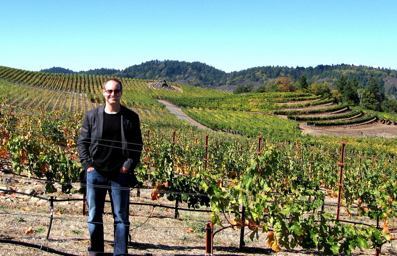 Matt studies the vineyards at Pride Mountain.