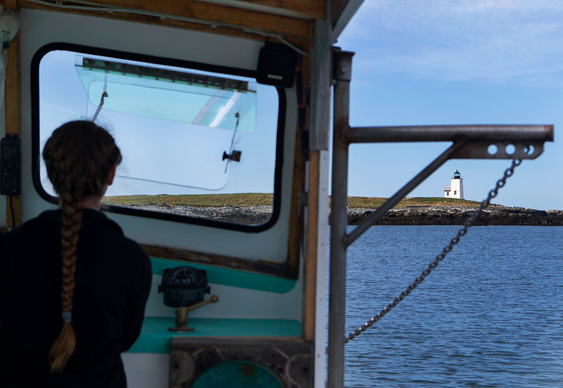 NASH ISLAND, Maine -- 05/17/2017 - Evie Wakeman, 15, navigates her father's, Alfie, boat towards Little Nash Island to check on their sheep. The family takes care of approximately 150 sheep spread between Little and Big Nash Islands. Ashley L. Conti | BDN