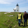 NASH ISLAND, Maine -- 05/17/2017 - Evie Wakeman (left), 15, and her dad, Alfie Wakeman, walk toward the lighthouse on Little Nash Island Wednesday to check on and count their sheep. The family takes care of approximately 150 sheep spread between Little and Big Nash Islands. Ashley L. Conti | BDN