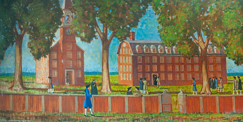 """This is Yale College and Chapel as it was when Nathan Hale attended; cf   <a href=""""http://tinyurl.com/ny7alko"""">http://tinyurl.com/ny7alko</a><br /> <br /> Fourteen-year-old Nathan and his (one year) older brother Enoch arrived here in the fall of 1769.<br /> <br /> Three years later when the weather on an afternoon sail in New Haven harbor turned violent and threatening,  seventeen-year old Nathan assured his companion that they were in no danger.<br /> <br /> """"I will never be drowned,"""" he said pointing to a mole on his neck; """"I am to be hung."""""""