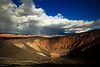 Storm clouds approach Ubehebe Crater in Death Valley National Park