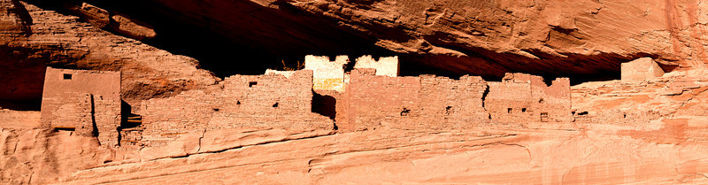 Panoramic photograph of the White House Ruins in Canyon De Chelly in Arizona. The ruin date from about 1200 AD and are some of the oldest in the canyon.