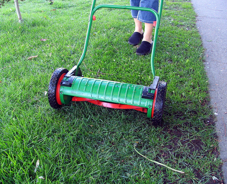 Use a push mower! It is quiet, provides exercise and does not pollute.