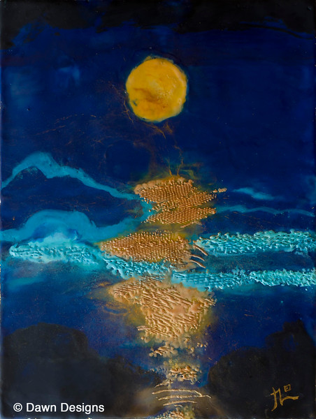 """Moon over Water Encaustic Painting<br /> Happy Guru Purnima, celebrated annually on the full moon in July. Guru means """"one that dispels the darkness of ignorance"""". It's a day to express gratitude to our teachers.<br /> We thank all of the great teachers who are spreading the light of Yoga"""