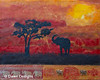 Elephant in the Sunset<br /> The elephant represents living a successful life filled with good fortune.<br /> Protection, good luck, wisdom, strength, stature and fertility are the main energies the elephant symbolizes. Many people believe it is most auspicious for the trunk to be up symbolizing good luck showering on you. There are ten elephants in this painting symbolizing creation, harmony, new changes and an element of good luck.