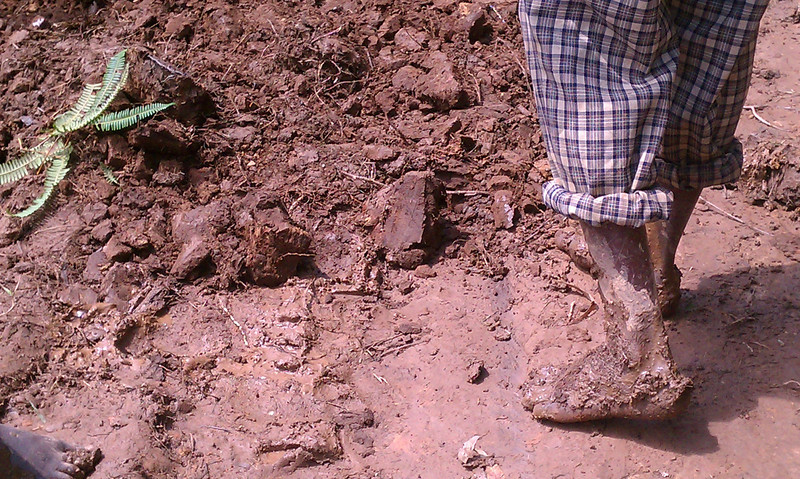 There is poor, and then there is Africa poor. The farmers that helped dig us out had no shoes.