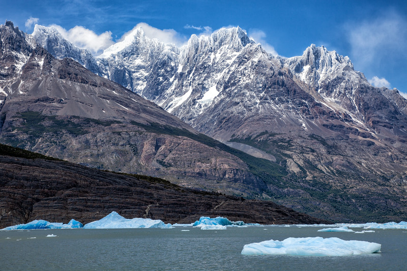 Mountains and Glaciers, Torres del Paine, Patagonia, Chile