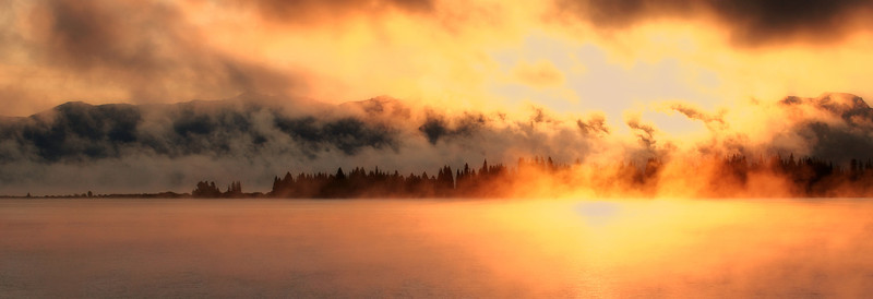 Misty Sunrise over Yellowstone Lake