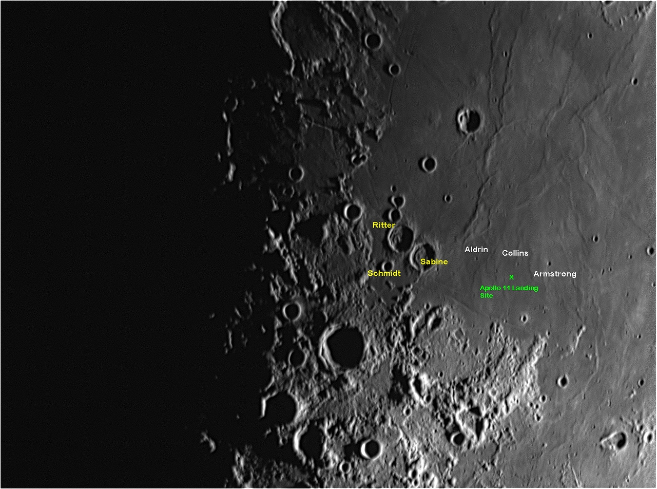 """When imaging the moon near first quarter last month I wanted to get a good shot of the area of the Sea of Tranquility and the landing spot of Apollo 11.   The attached image that I captured on July 24, 2012 show that position. While the site is near the easy to find craters Ritter & Sabine, so that was approximately where I centered the image.   The actual landing area is located near some very small obscure craters named """"Armstrong, Collins & Aldrin"""" after the crew of Apollo 11.   After checking Virtual Moon Atlas, I believe I have accurately labeled the craters and the approximate landing site where Neil Armstrong & Buzz Aldrin landed the """"Eagle"""" on July 20, 1969.   The first shot attached I labeled identifying craters and the landing area while the next image has no label and is the same image as I originally captured it.   Interestingly the picture was taken with a CPC 1100 telescope and a Chameleon camera in my back yard on July 24, 2012 at 9:14 pm. Exactly 43 years ago to the day when the crew of Apollo 11 returned to earth on July 24, 1969."""