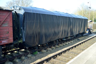 Unidentified Tarpaulined Coach at Peterborough    06/04/15