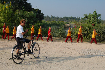 We hire old school bicycles to explore Lumbini.