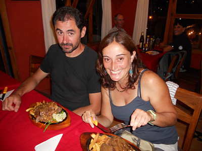 Juan looks skeptical but he loves it really! Olga can't hide her joy!