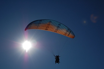 The sky above us was filled with paragliders.