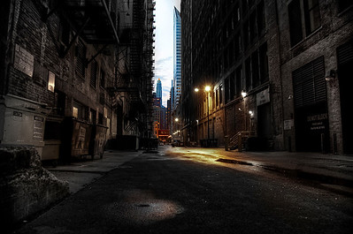 Dark to light | Alleys are special places. They lend drama. This is simply one of the more beautiful alley-scapes I've found in Chicago. There are several great little slivers like it in the Loop, but this one is so alive with darkness and lightness and color. I've told this to several people while walking by, but nobody seems to agree in the moment. I hope reproducing it as I experience it lends to understanding its beauty. I stop to look each time I pass.