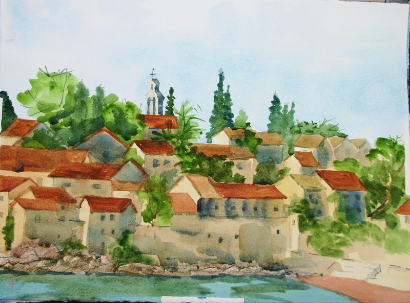 "Village of Sveti Stephan, Montenergo<br /> 11"" X 15""<br />  Price: $200."