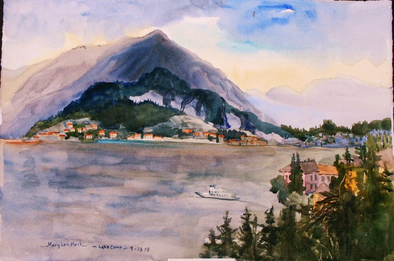 """Lake Como View From Varenna, Italy<br /> 22"""" X 15"""" <br /> Price: $300."""