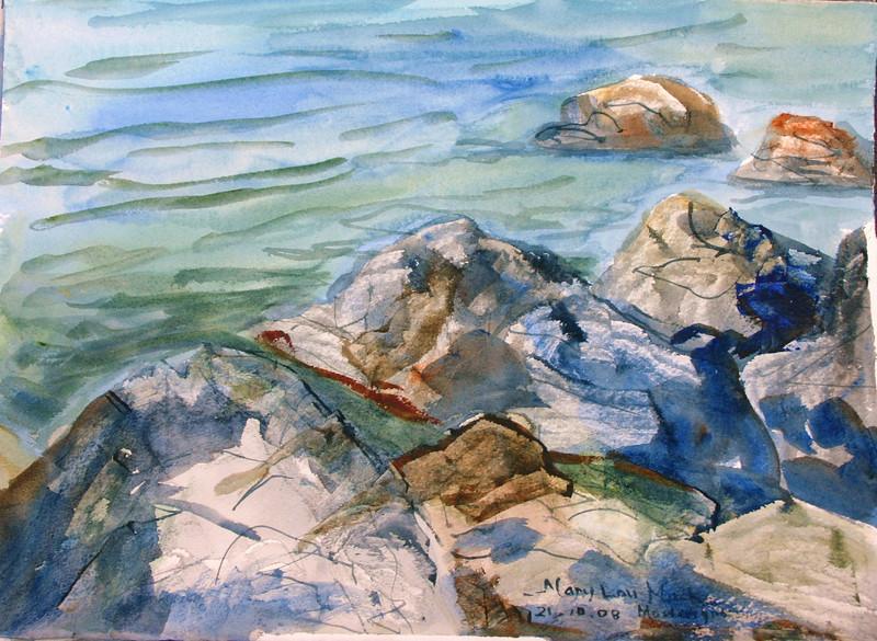 """Adratic Coastline - Bar, Montenergo<br /> 11"""" x 15""""<br />  Price: $150."""